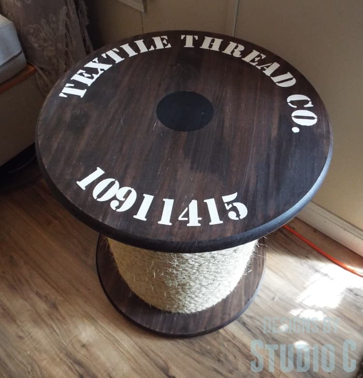 Stencil Topped Rope Spool Side Table