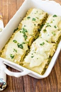 Pesto Chicken Lasagna Rollups with Creamy Garlic Basil Sauce