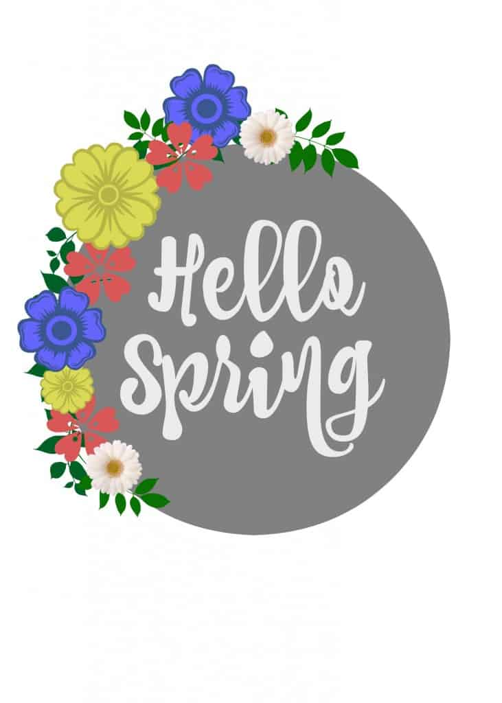 Hello Spring Printable with gorgeous gray and beautiful spring flowers