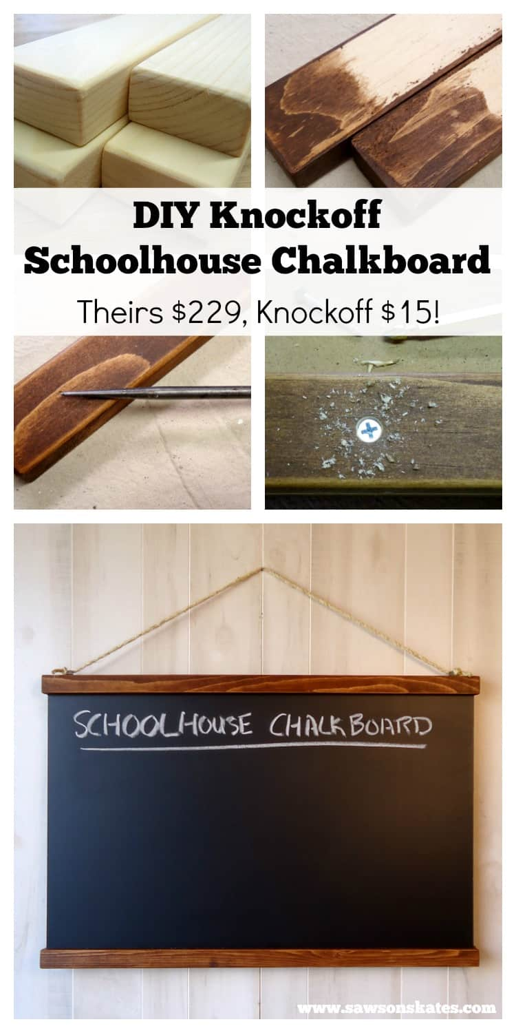 DIY Knockoff Schoolhouse Chalkboard make your own Ballard Inspired Chalkboard for $15 vs their $229!