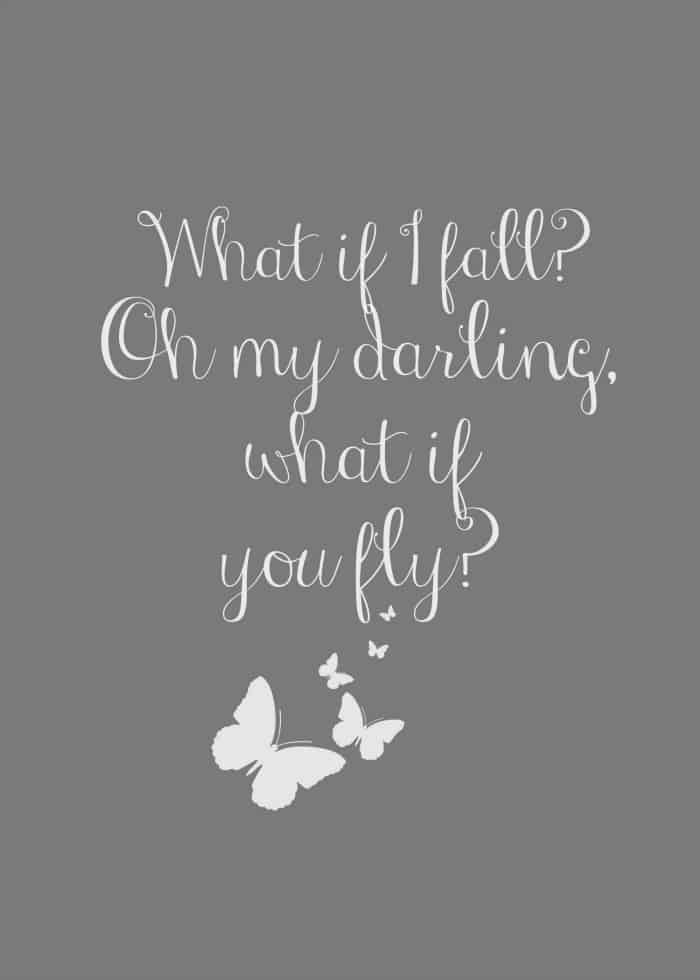 What if I fall - free inspirational quote printable