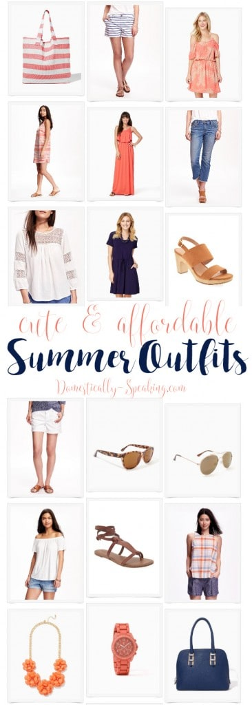 Cute and Affordable Summer Outfits for Women in navy blues and corals
