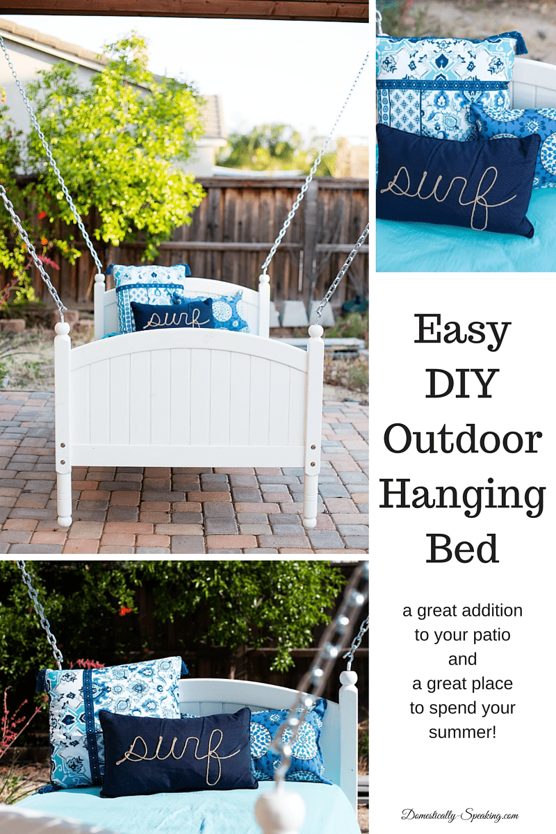 DIY Outdoor Hanging Bed an easy project to make this fun hanging bed for your patio - a great place to hang out this summer