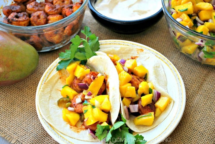 Perfect weeknight dinner - Shrimp and Mangos - YUM!
