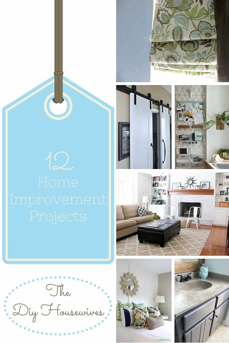 12 DIY Home Improvement Projects that you're going to want to do in your home - barn door, command centers, concrete countertops, fireplace painting, mini blinds to custom shades and more