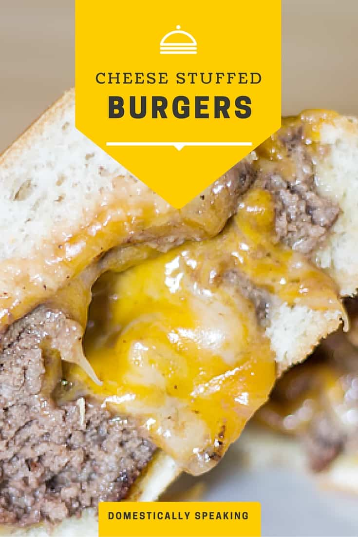 I have to try this cheeseburger!!! Cheese stuffed Cheeseburger - YUM!! Next time I fire up the BBQ I'm trying it!