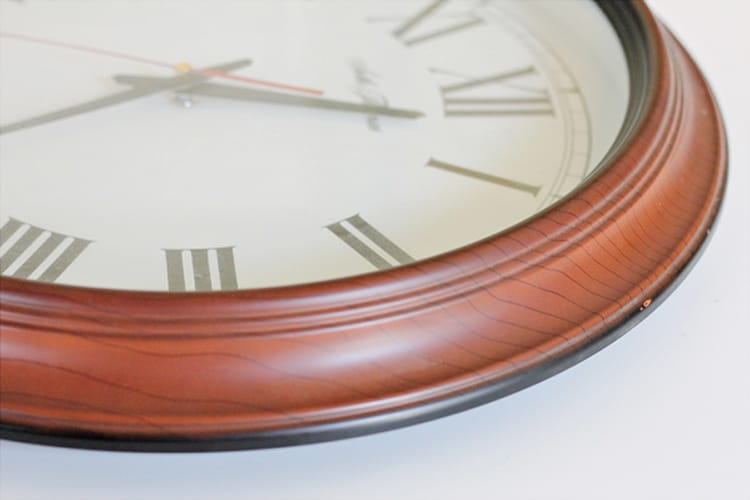 Cherry wood thrift store clock before a paint update