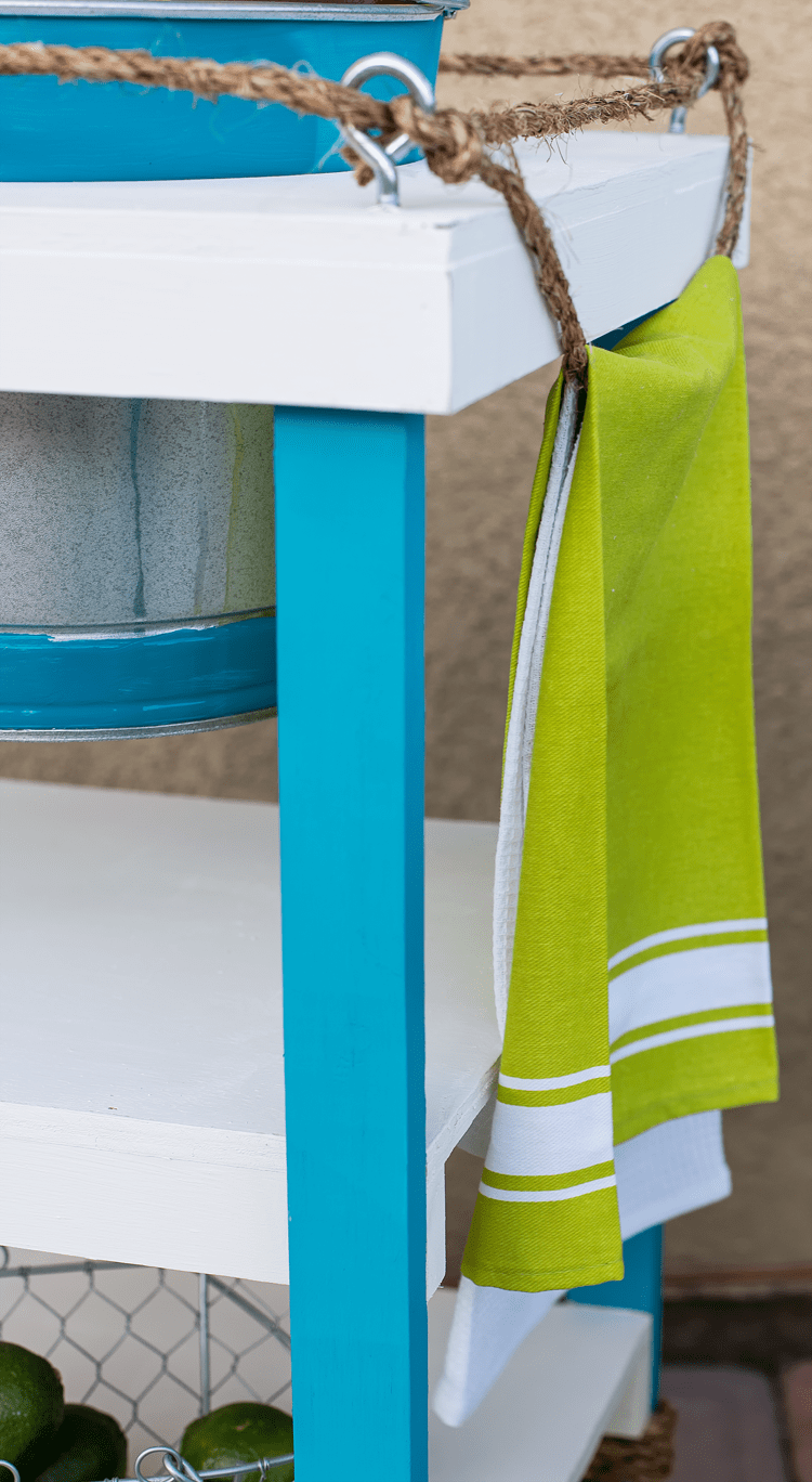 Cute Nautical Rope Towel Holder on a Beverage Stand