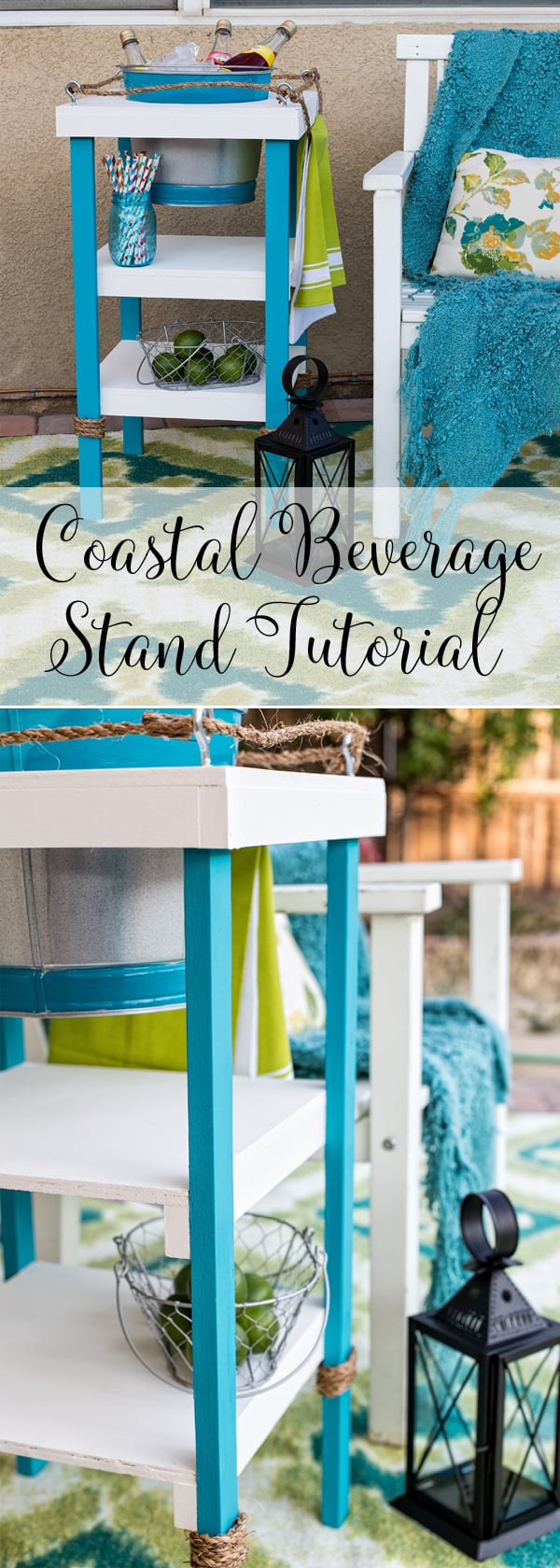 DIY Coastal Beverage Stand - full tutorial - make your own perfect for summer parties - keep your drinks cold with beach inspired project
