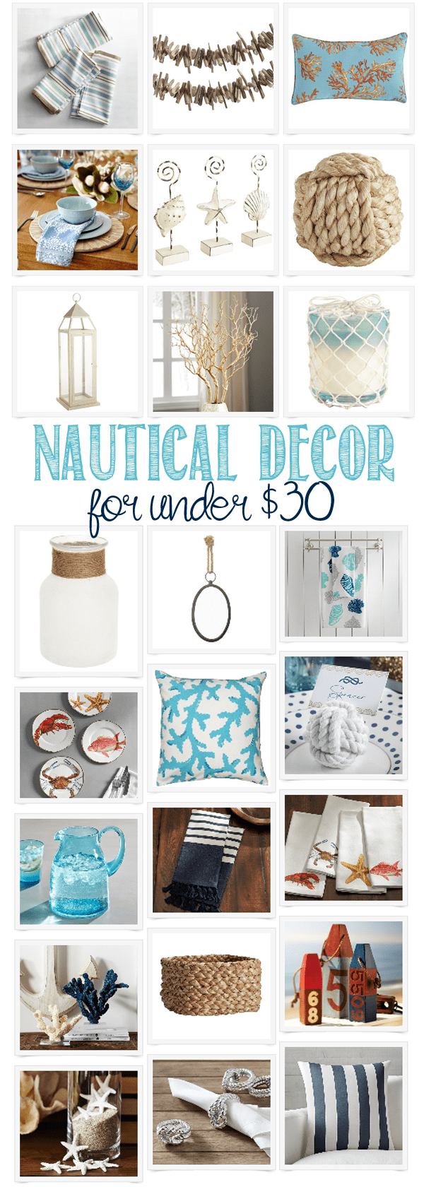 Nautical Decor for under $30 - great beachy decor items for your home to add some coastal vibe