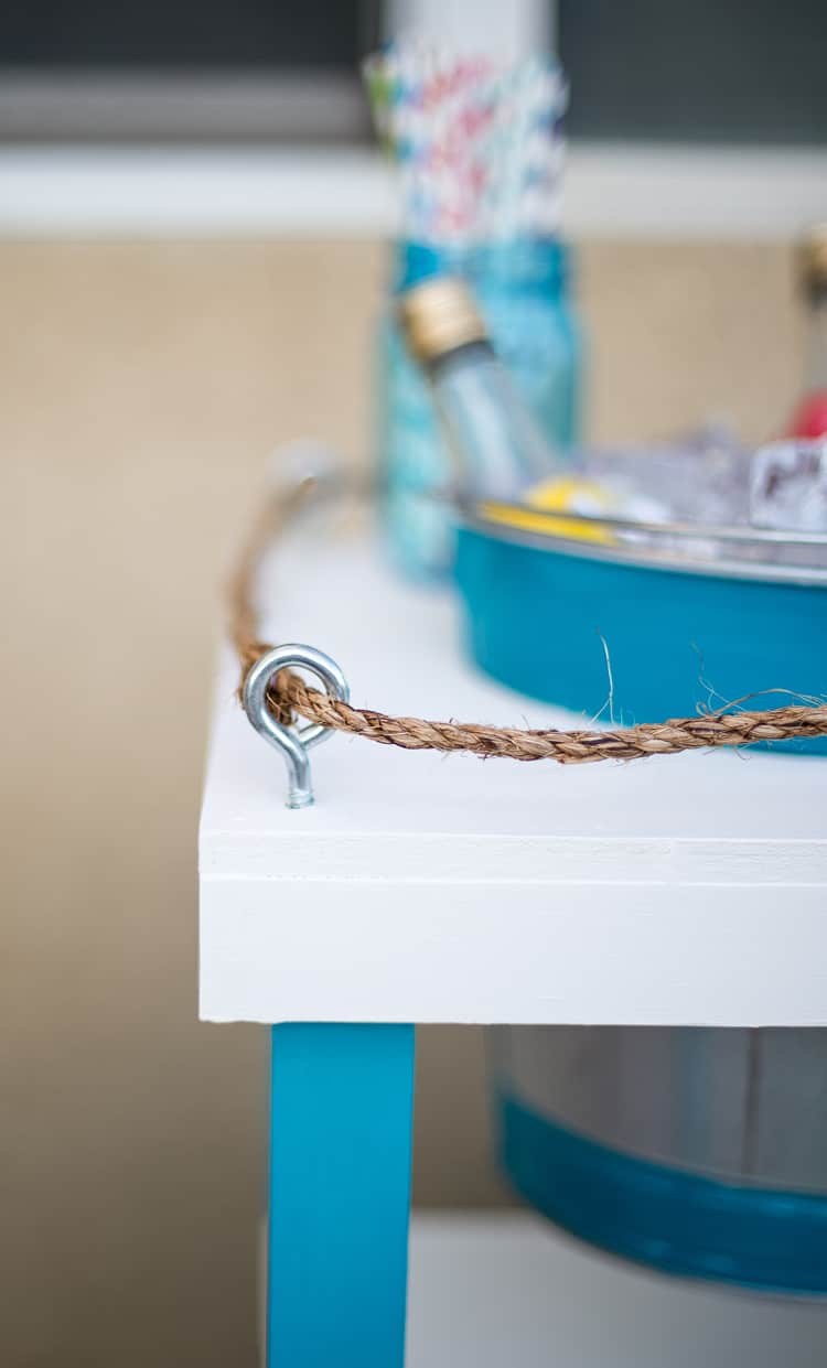 Nautrical Hook and Rope Detail on a Beachy Beverage Stand
