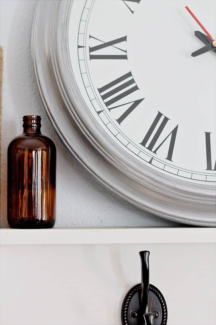 Thrift Store Clock updated with shimmery silver paint an easy DIY project