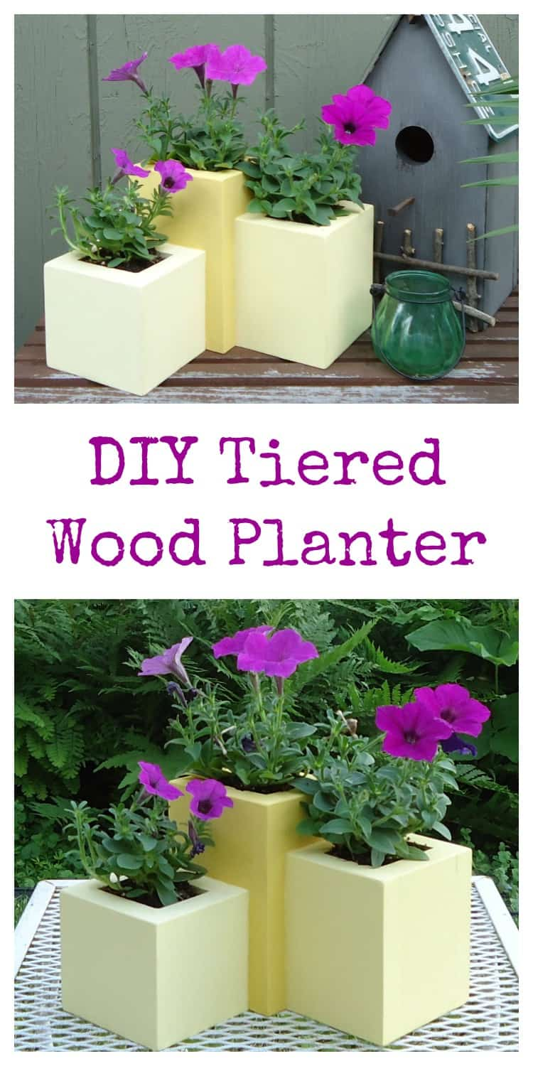 DIY Wood Tiered Planter an easy project perfect for a garden lover! Learn how to build this cheap wood planter for your deck or patio.