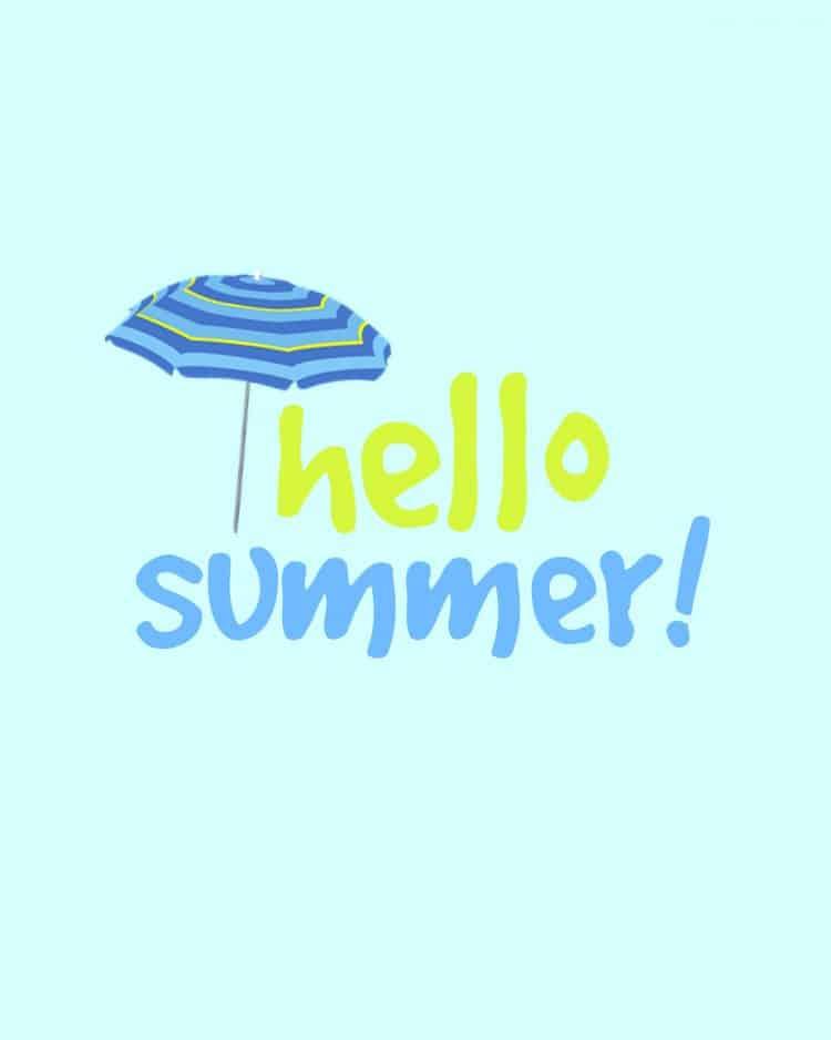 CUTE Summer Printable with a Beach Umbrella - Hello Summer!!!