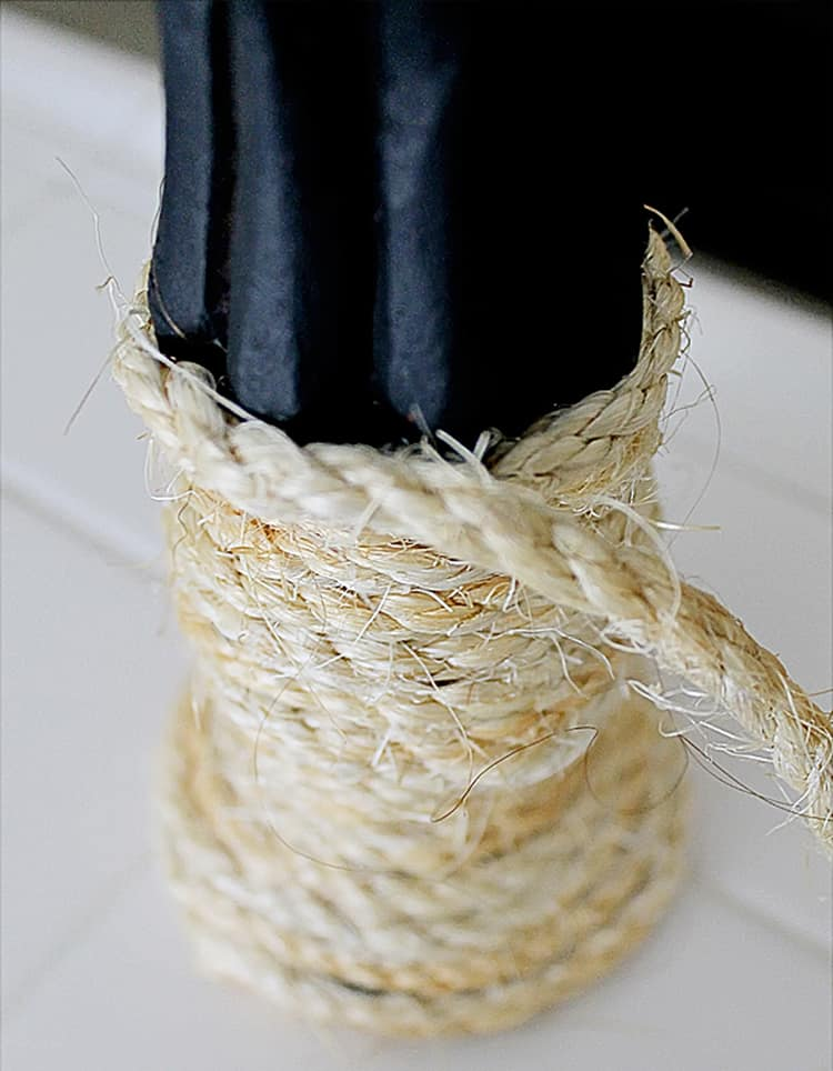 Attaching sisal rope to a large thrift store candlestick