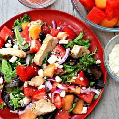 Grilled Chicken Melon-Berry Summer Salad