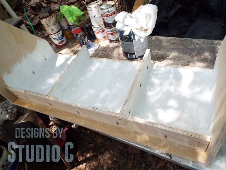 Painting the inside of the wall mounted desk