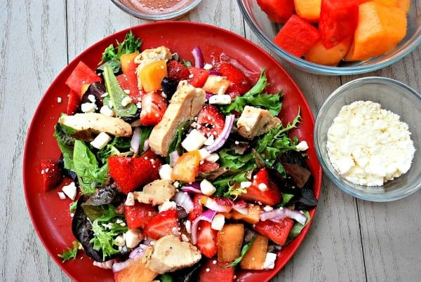 Summer Dinner Salad Recipe with berries and melon - YUM!