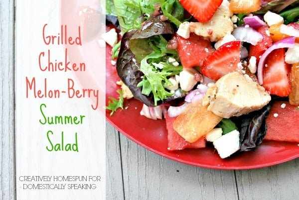 Summer Salad a Grilled Chicken with Melon and Berries - Delicious