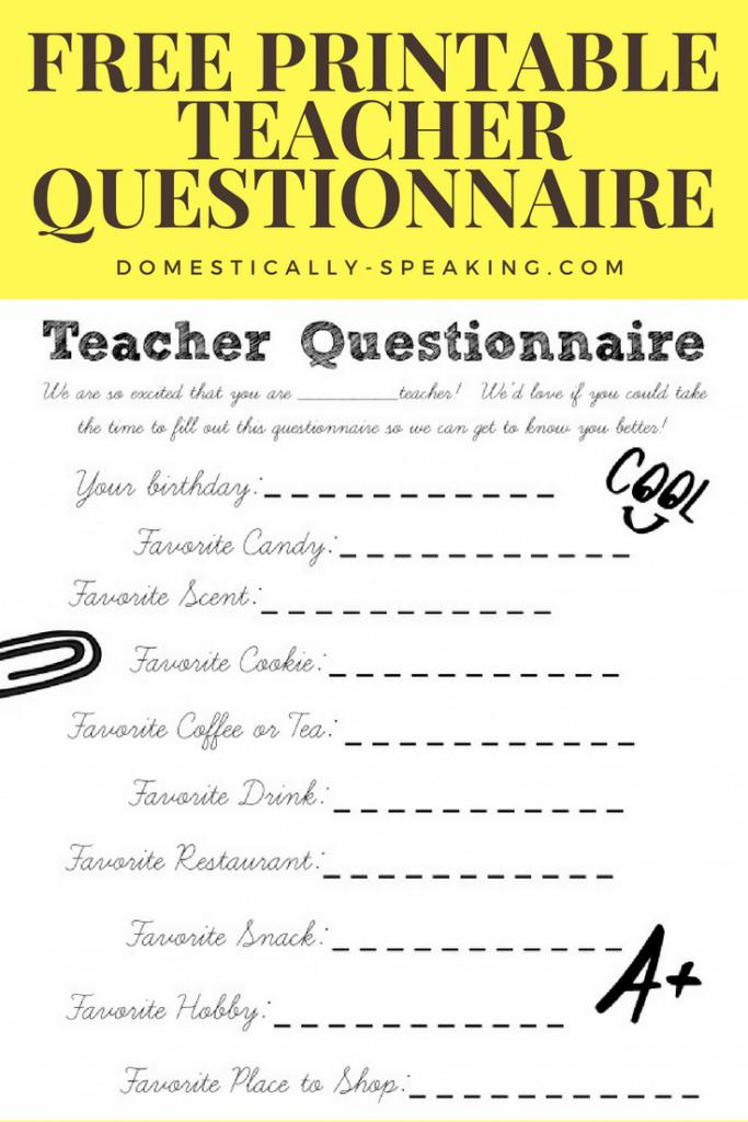 Teacher Questionnaire Printable