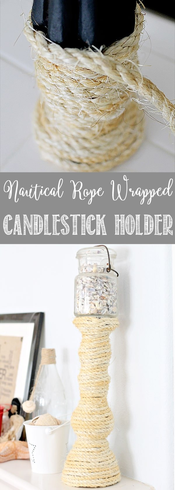 Love Coastal Decor! Check out this thrift store find turned Sisal Rope Wrapped Candlestick Holder