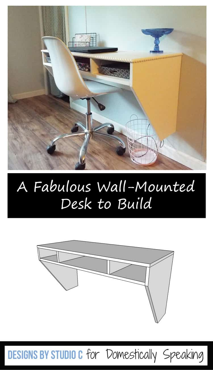 DIY Plans for a Wall Mounted Desk - this is perfect because it's space saving!! A great idea for a Homework Station for the kids.