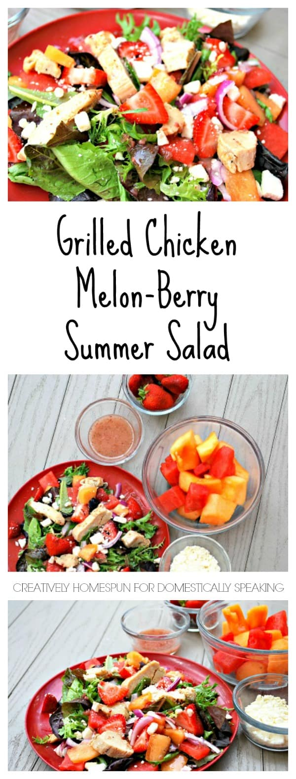 Grilled Chicken Melon, Berry Summer Salad - so colorful and delicious during the heat of summer - perfect for lunch or dinner
