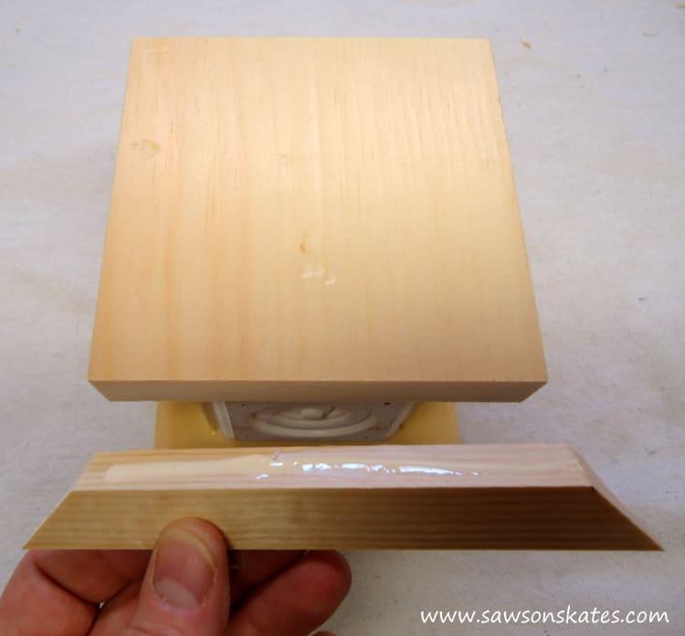 candle holder apply glue cove base