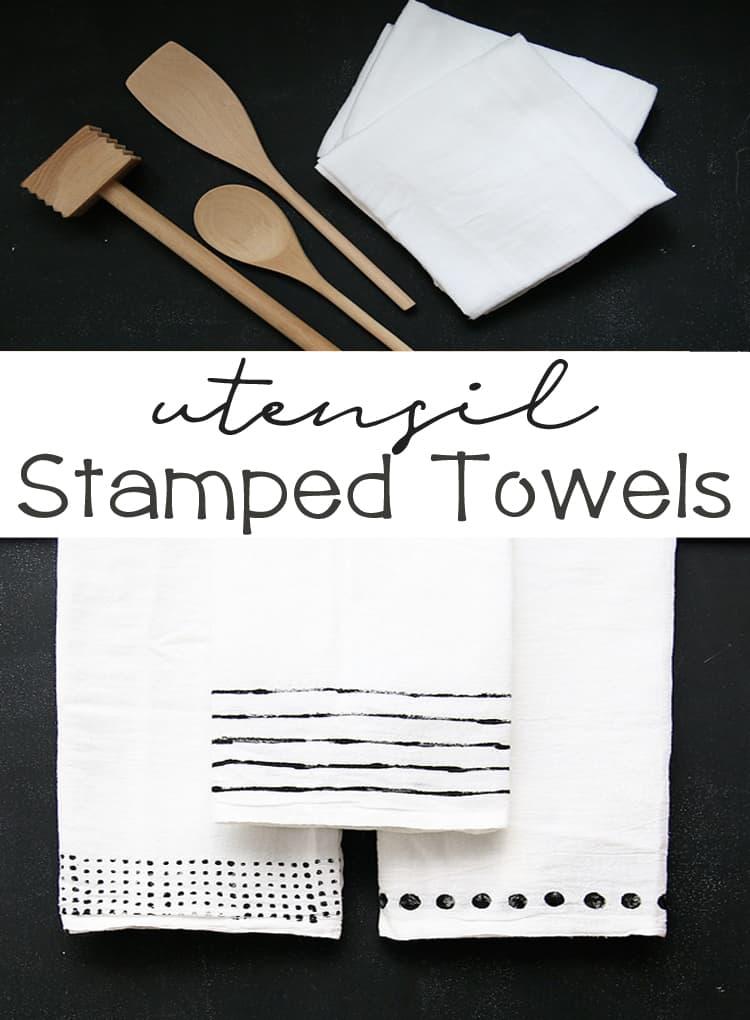DIY Utensil Stamped Towels