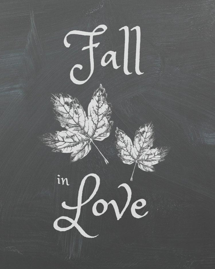 fall-in-love chalkboard printable