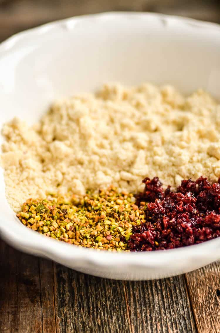 Pulsed ingredients for the Cranberry Pistachio Shortbread Cookies