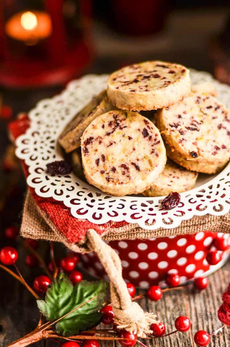 Cranberry Pistachio Shortbread Cookies