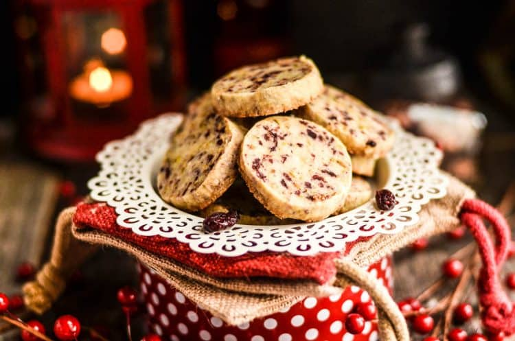 Christmas cookie Cranberry Pistachio Shortbread Cookies