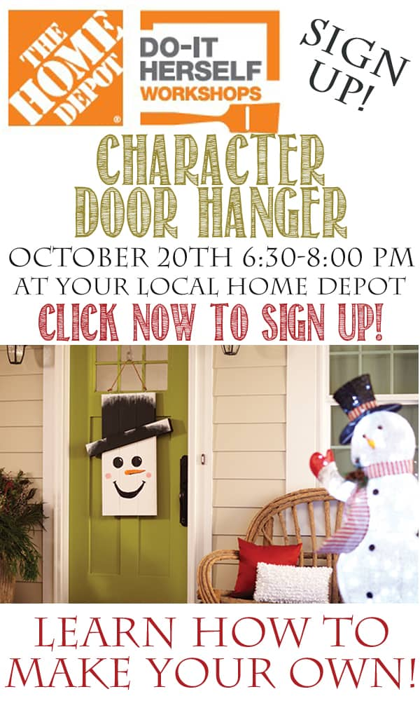 Home Depot DIH Workshop Character Door Hanger - Signup for this FREE Workshop