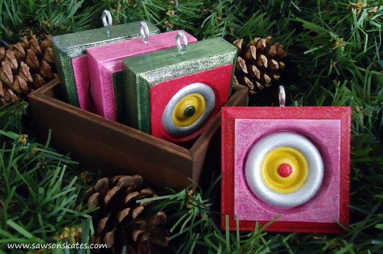 DIY Vintage Style Wood Christmas Ornaments in a box
