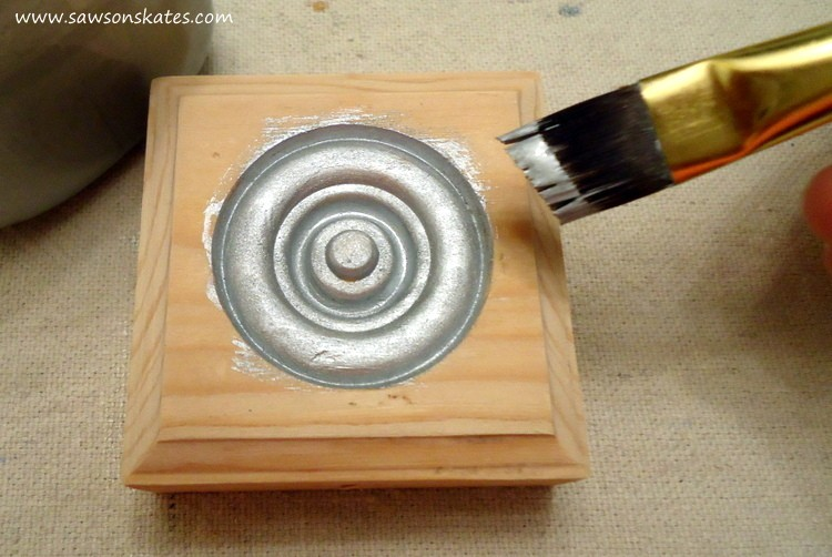 Adding metallic paint to the DIY Vintage Style Wood Christmas Ornament