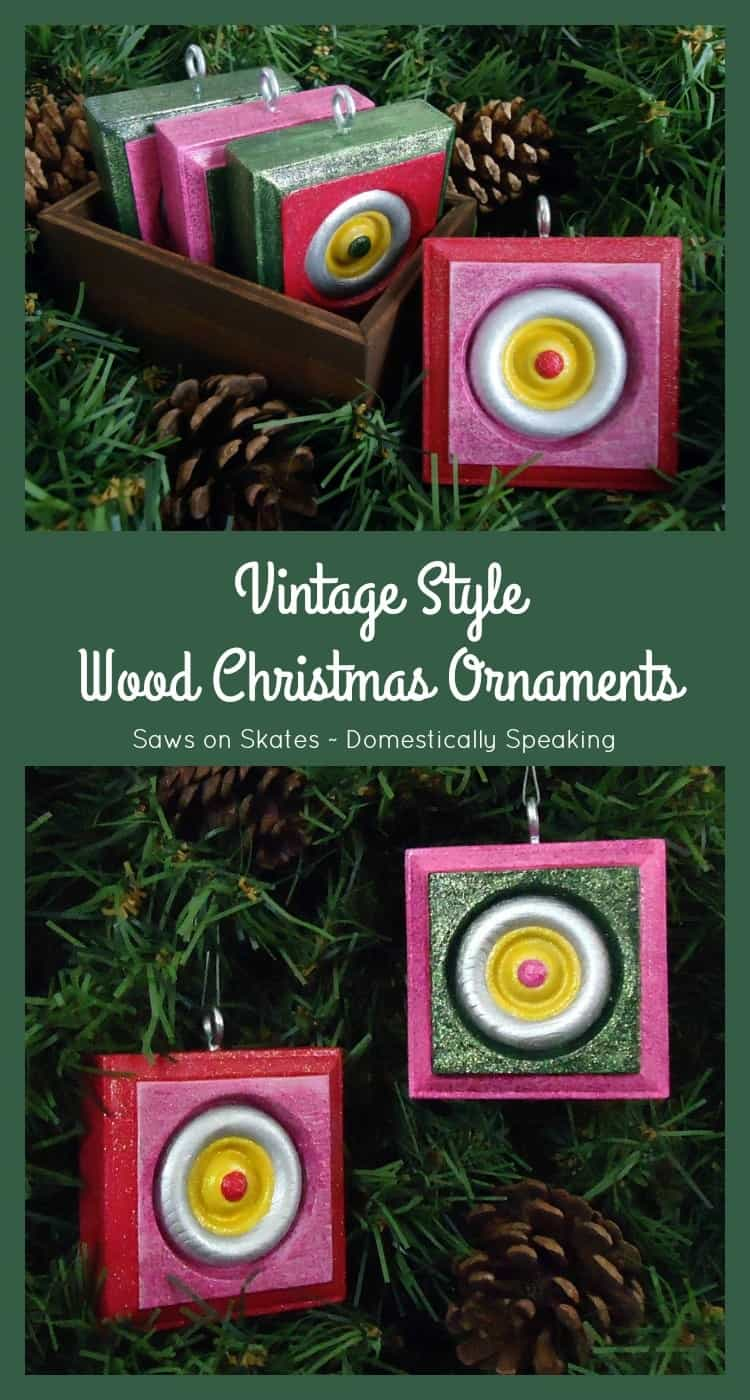 Vintage Style Wood Christmas Ornaments get the tutorial on how to make these cute ornaments perfect for gifts