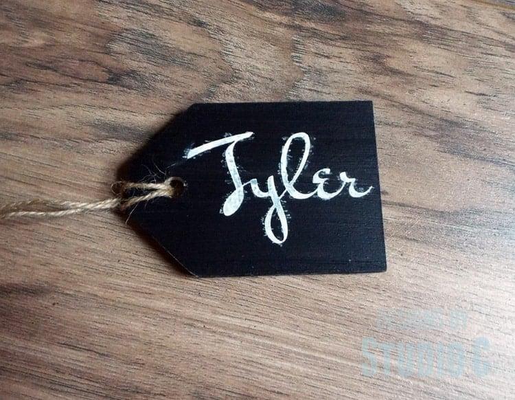 Cute chalkboard wooden gift tag