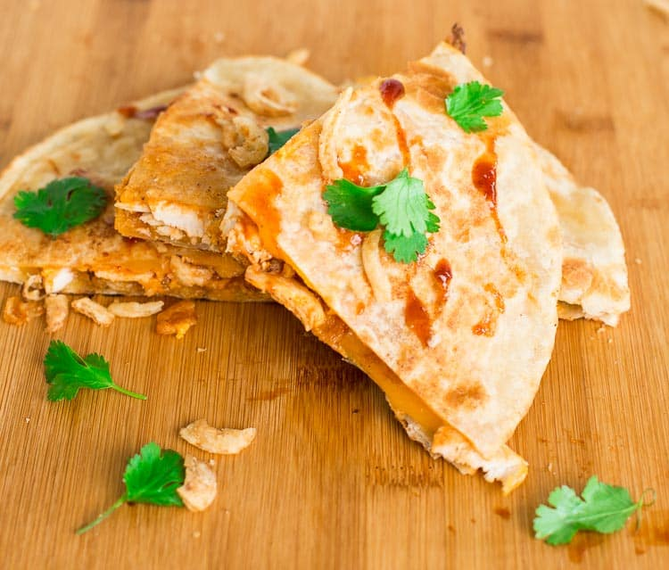 BBQ Chicken Quesadillas with Frizzled Onions great with leftover chicken
