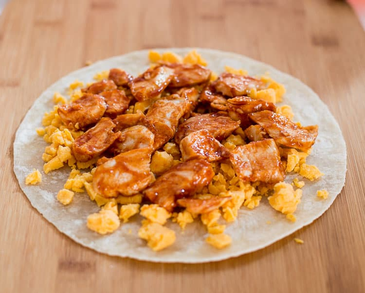 Bbq chicken on top of cheddar cheese | BBQ Chicken Quesadilla