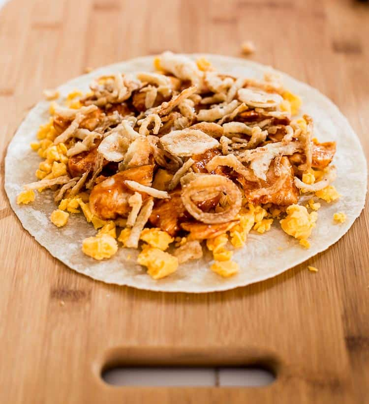 Cheddar cheese, bbq chicken and frizzled onions | BBQ Chicken Quesadilla