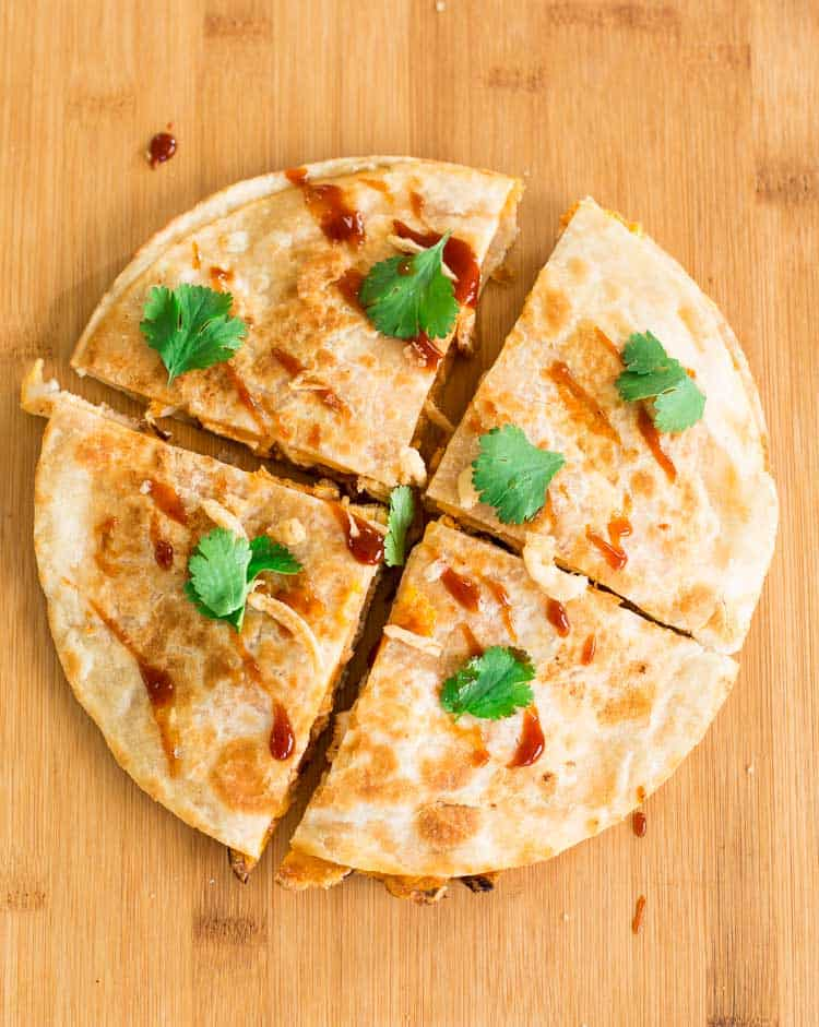 BBQ Chicken Quesadilla with frizzled onions (French's Crispy Fried Onions)