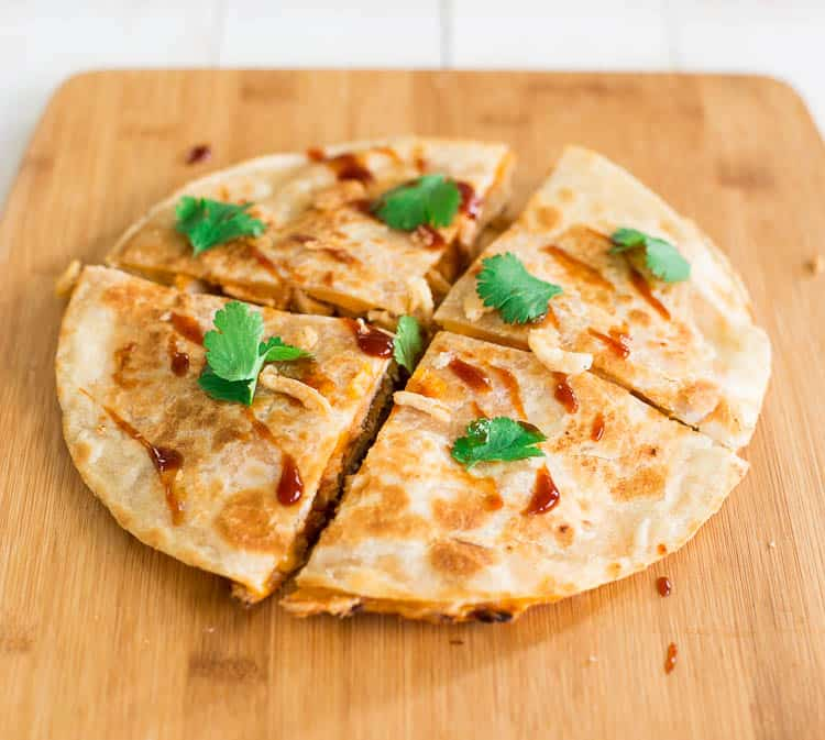BBQ Chicken Quesadilla with Frizzled Onions