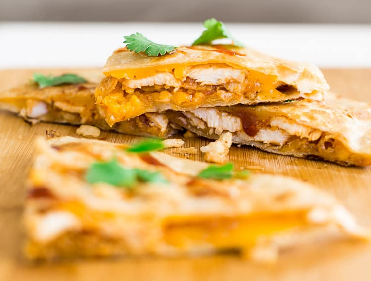 Melted cheddar cheese, bbq chicken and fried onions | BBQ Chicken Quesadilla