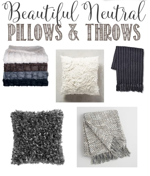 Beautiful Neutral Pillow and Throws