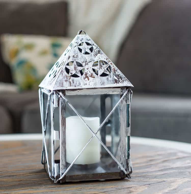 Farmhouse style chippy lantern with glue