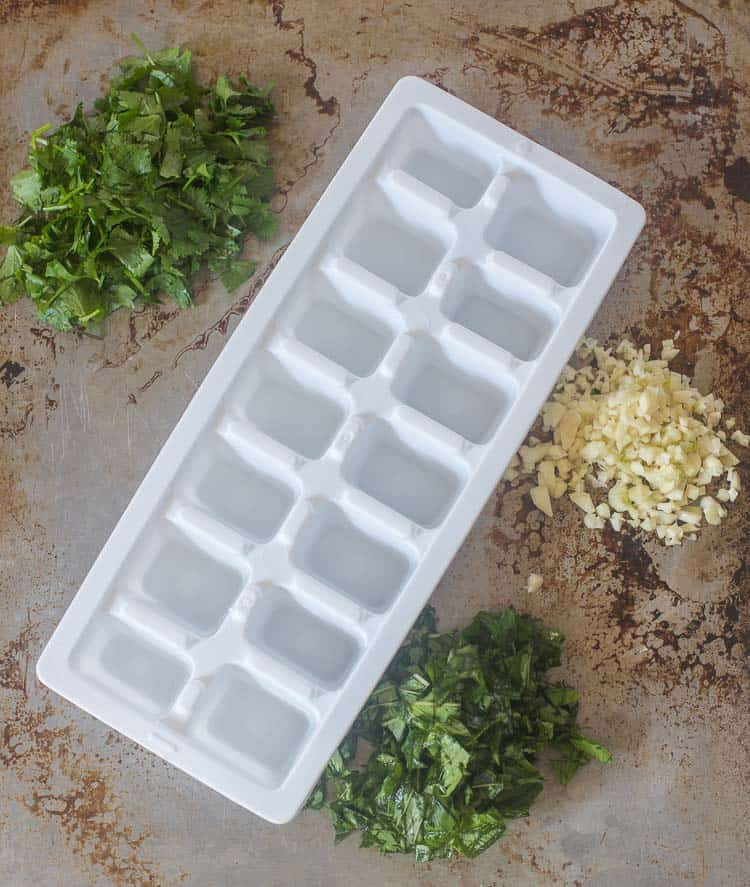 Chopped fresh herbs for your ice cube tray