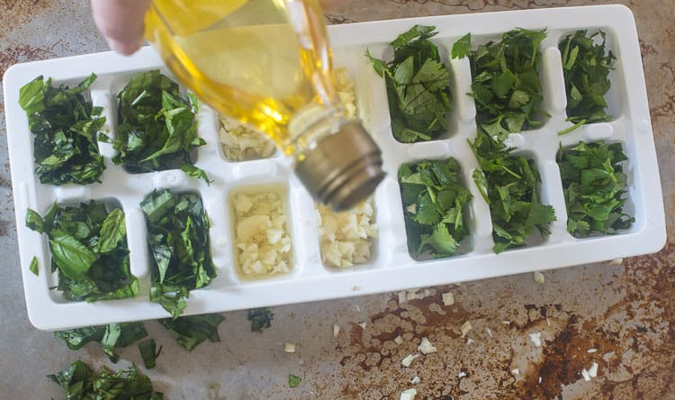 Adding the olive oil to your fresh herbs in your ice cube trays