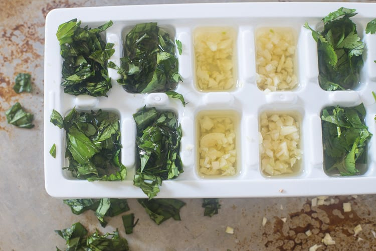 Placing fresh herbs in an ice cube tray