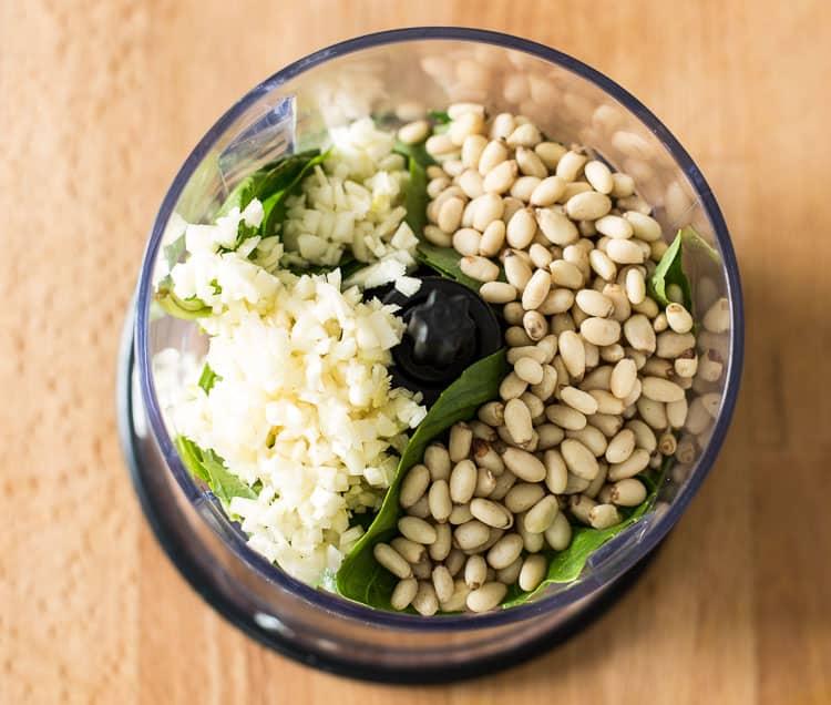 Basil, pine nuts and minced garlic | Homemade Pesto Sauce Recipe